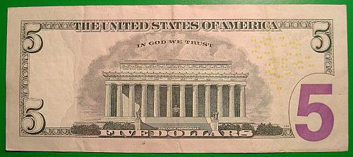 """2013 $5 Federal Reserve Note  """"Green Seal"""" STAR NOTE"""