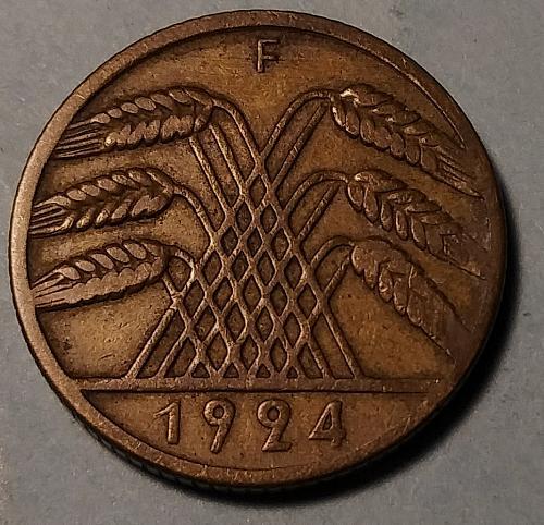 BETTER DATE 1924-F GERMAN 10 PFENNIG