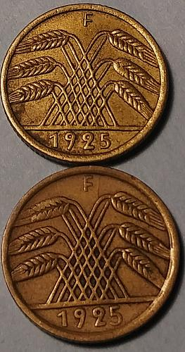 KEY DATE 1925-F LARGE AND SMALL FIVE 5 PFENNIG
