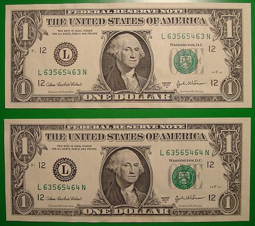 """2003A $1 Federal Reserve Note """"Green Seal"""" 2 Note Mini Lot"""