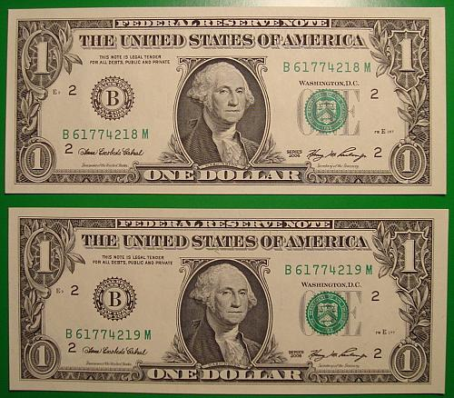"""2006 $1 Federal Reserve Note """"Green Seal"""" 3 Note Mini Lot"""
