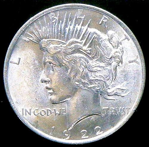 1922 Peace Dollars : Normal Relief Early Silver Dollars  V2P14R1