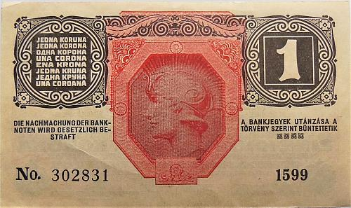 AUSTRIA 1 KORONA 1916  WORLD PAPER MONEY