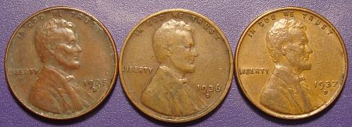 1935D-36D-37D Lincoln Wheat Cent 3 Coin Lot