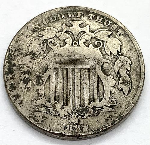 1882 Shield Nickel - Cleaned