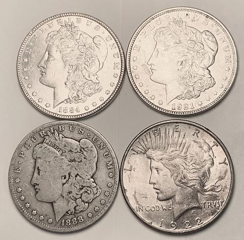 1884, 1888-O, 1921 Morgan Dollar, 1922 Peace Dollar [MDL 565]