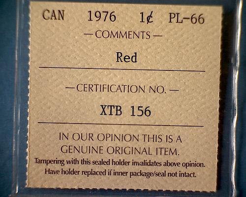 1976 CANADA ONE CENT  ICCS CERTIFIED