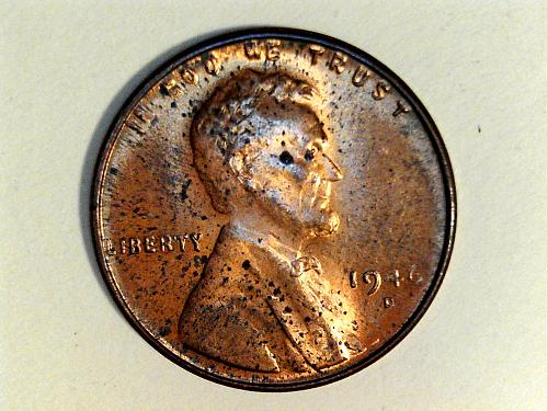 1946 D Lincoln Cent--Uncirculated, spots (price drop 6/10)