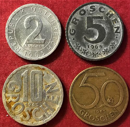 Austria - 1965 - 50, 10, 5 and 2 Groschen