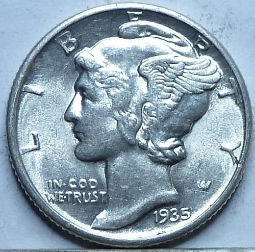 1935- P Uncirculated Mercury Dime Unc ( N-144 )