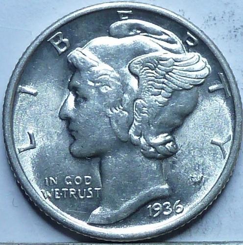 1936- P Uncirculated Mercury Dime Unc ( N-147 )