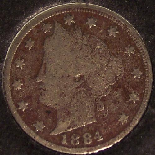 """1884 Liberty Head """"V"""" Nickel VG Dark #0178"""