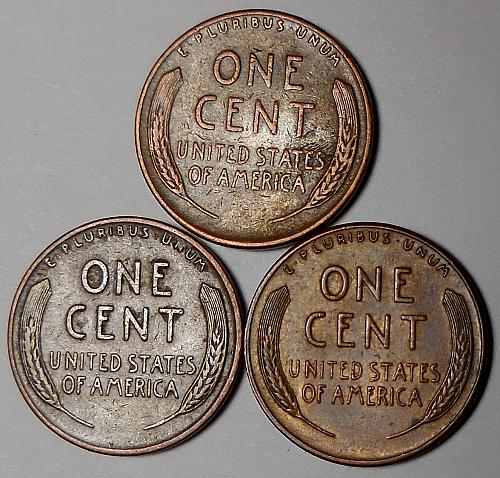 3 Lincoln Wheat Cents 1952-P 1952-D 1952-S