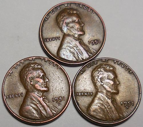 3 Lincoln Wheat Cents 1951-P 1951-D 1951-S