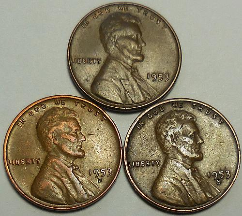 3 Lincoln Wheat Cents 1953-P 1953-D 1953-S