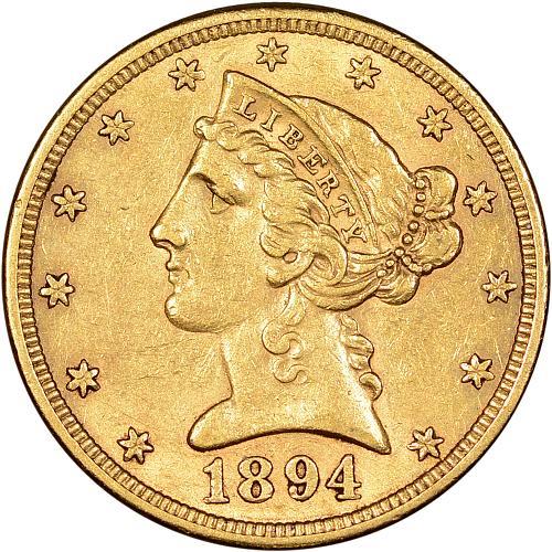 Very Scarce $5.00 Gold Half Eagle 1894-S AU - ToughCOINS