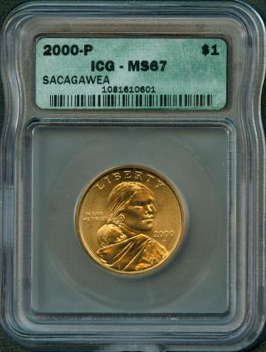 "2000 - P  SACAGAWEA  ""Golden Dollar""  ICG  MS67"
