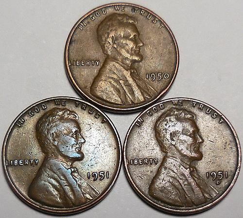 3 Lincoln Wheat Cents 1950-P 1951-P 1951-D