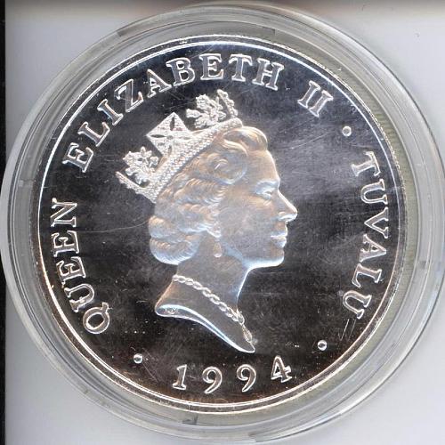 20 Dollars Tuvalu. 1994. Silver PF