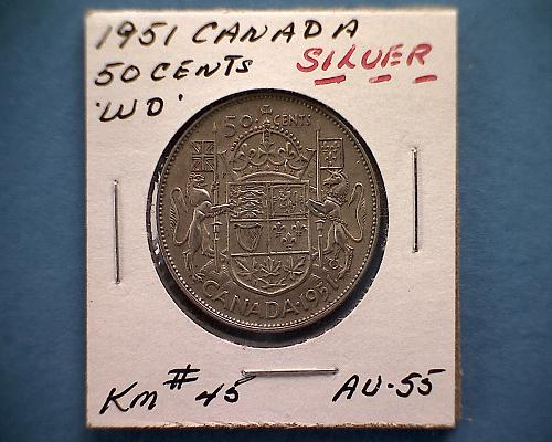"""1951 CANADA FIFTY CENTS  KING GEORGE V1  """"WIDE DATE""""  """"SILVER"""""""