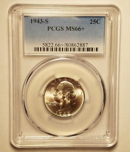 1943 S Washington Quarter PCGS MS66+ Plus