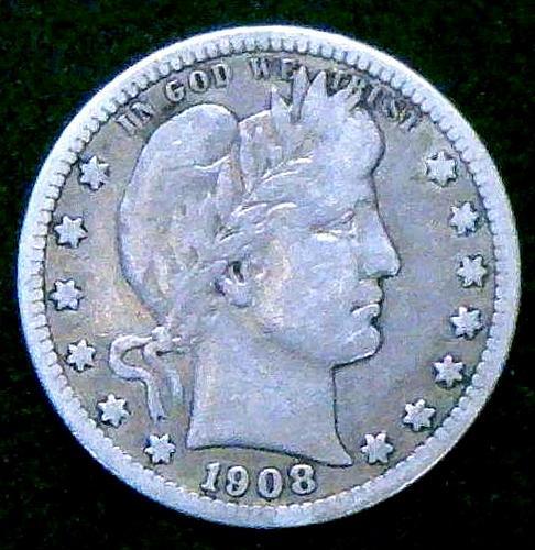 1908 Barber Quarters Early Silver Quarters  V2P3R1