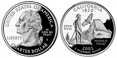 2005-S CALIFORNIA STATE QUARTER FROM PROOF SET IN FLIP  A-25-21