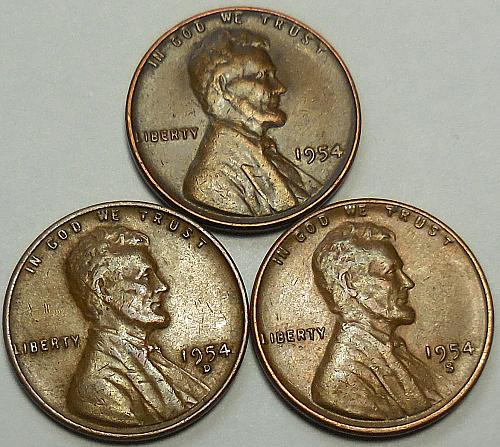 3 Lincoln Wheat Cents 1954-P 1954-D 1954-S