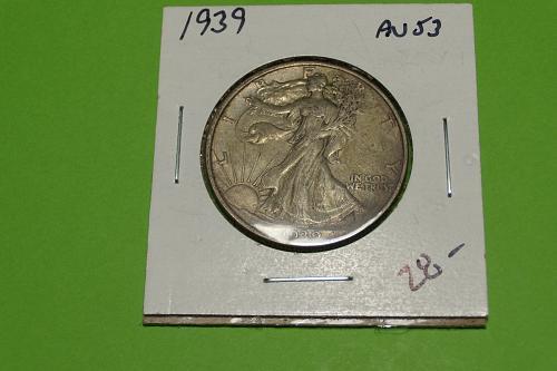 1939 Walking Liberty Half Dollar  AU53  #50-1939-2