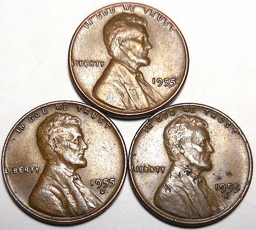 3 Lincoln Wheat Cents 1955-P 1955-D 1955-S