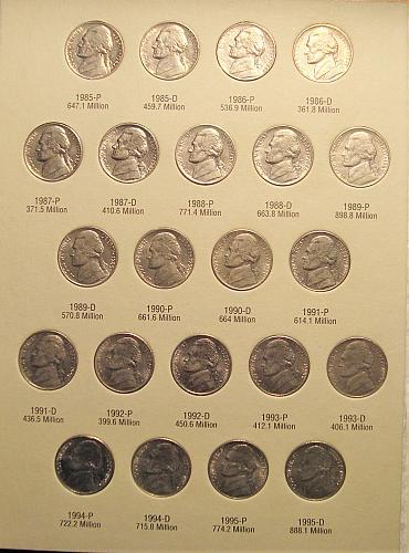 1962-1995  Jefferson Nickel  Set
