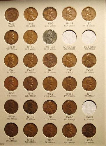 1941-1974  Lincoln Cent NEAR Set only missing 3 coins