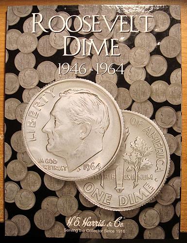 4 Folders Lincoln Cent. Washington Quarter. Mercury and Roosevelt Dimes