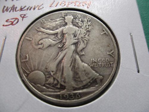 1936  VF20 Walking Liberty Half Dollar.  Item: 50 W36-05.