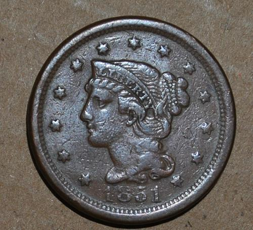 1851 P Braided Hair Liberty Head Large Cents: Normal Date W375E
