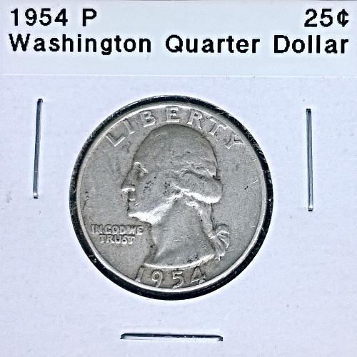1954 P Washington Quarter Dollar - 4 Photos!