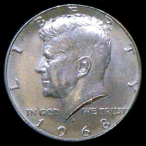 1968 D Kennedy Half Dollars 40% Silver Composition V2P7R3