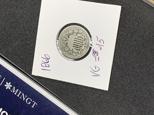1866 Nickel with Rays, nice coin