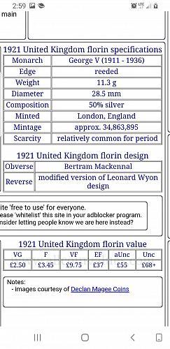 1921 George V One Florin