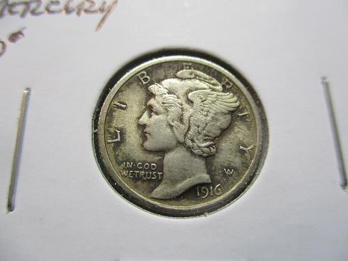1916  VF30 Mercury Dime.  Item: 10 M16-02.