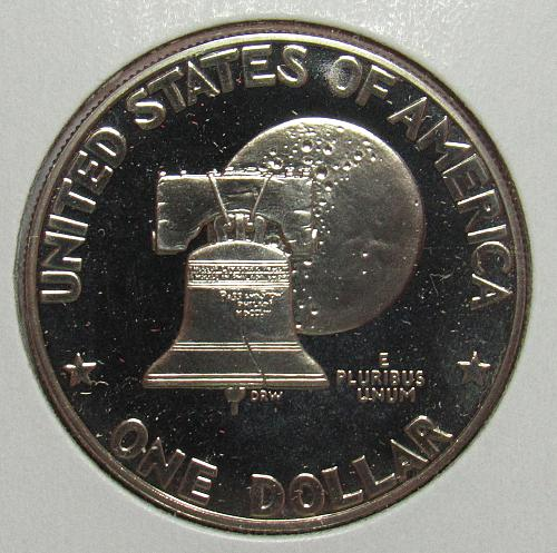 1976 S Proof Eisenhower Dollar: Type 1 - Low Relief - Bold Lettering