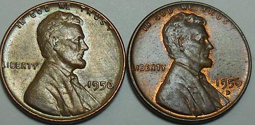 Lincoln Wheat Cents 1956-P 1956-D