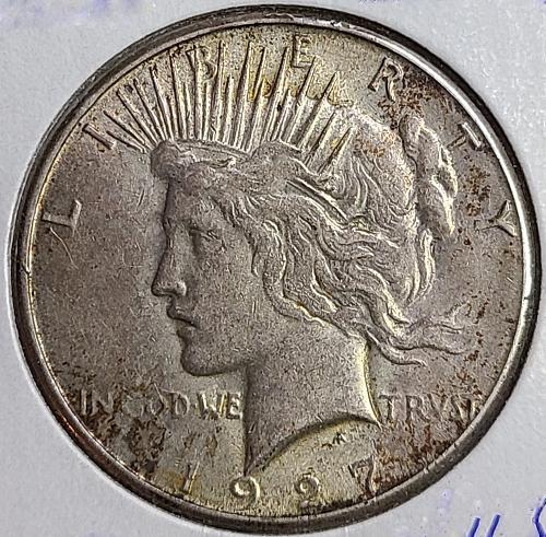 1927-S Peace Dollar Almost Uncirculated-50 Nice Original Patina!