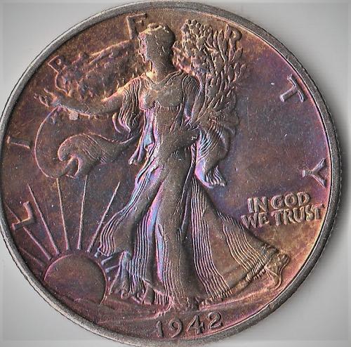 1942S Walking Liberty Half Dollar w/Toning