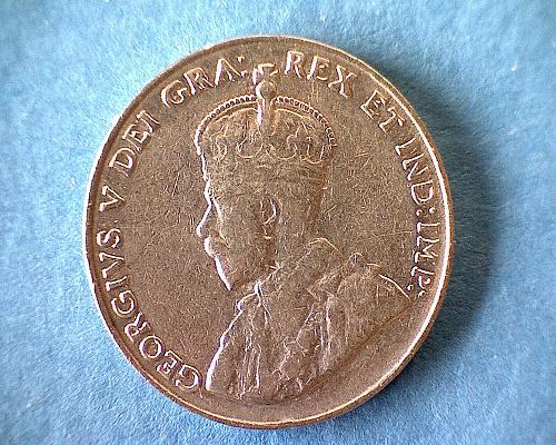 "1034 CANADA FIVE CENTS  KING GEORGE V  ""FAR RIM"""