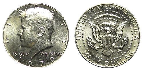1979-P KENNEDY HALF DOLLAR FROM US MINT ROLL IN FLIP   B-13-21