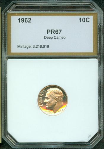 1962  ROOSEVELT  DIME  PCI  PR67DCAM