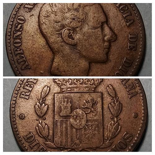 1877 SPAIN 10 CENTIMOS