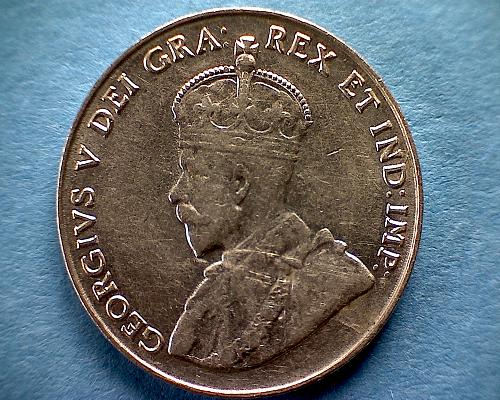 1935 CANADA  FIVE CENTS  KING GEORGE V
