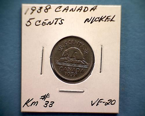 1938 CANADA FIVE CENTS KING GEORGE V1